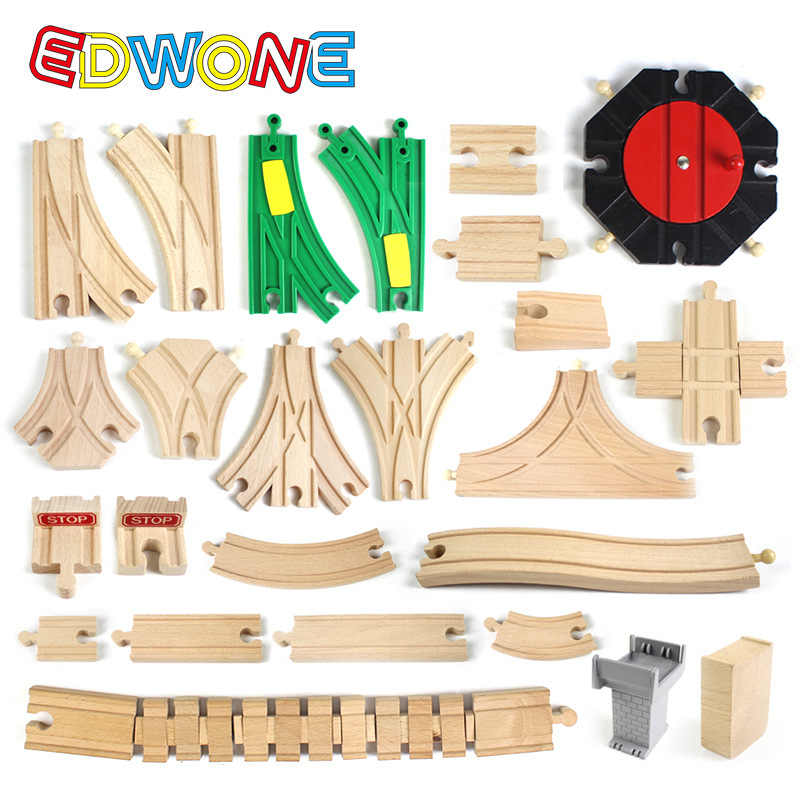 EDWONE New Thomas Wooden Train Track Railway Accessories All Kinds of Wood Track Variety Thomas Component Educational Toys