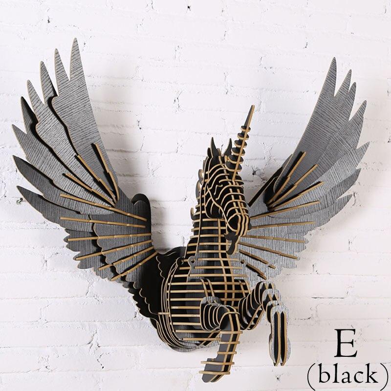 3D FAI DA TE In Legno Unicorn Arazzi Moderno Nordic Stile Creativo di Legno Testa di Animale Mitico Unicorno In Legno Decorazione Della Parete di 72*88*45 cm - 6