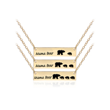 ФОТО papa bear mama bear pendant necklace gifts for mom dad valentine's day gift for wife jewelry mother's day birthday remembrance