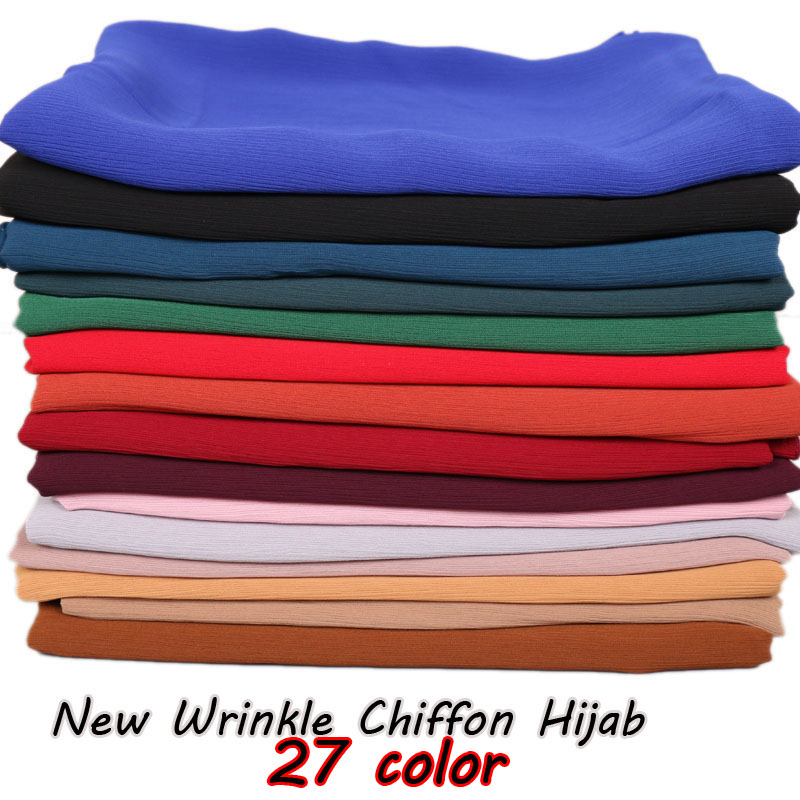 High quality Crinkle chiffon hijab scarf shawls Ladies muslim fashion plain wraps headband long scarves/scarf 180*75cm 10pcs/lot