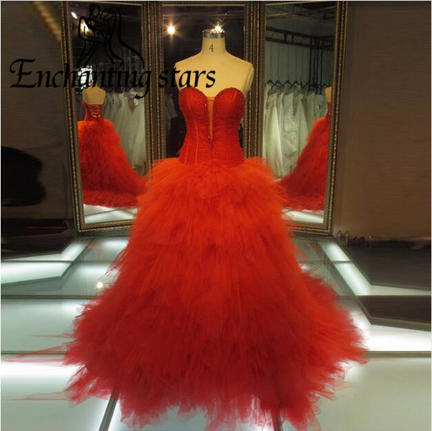 2017 Luxury Bandage Red Formal Evening Dresses Beaded Collar Tiered Tulle Puffy Elegant Runway Fashion Prom Dress Sweetheart New - Molibridal_ Store store