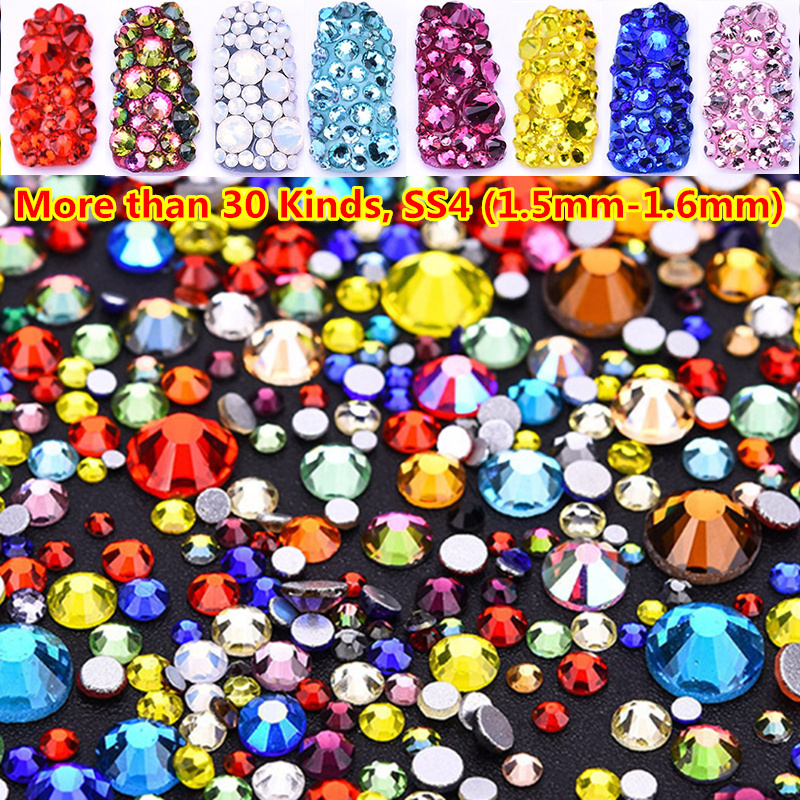 30 Colors 1440pcs ss4 Flatback Strass Crystal No Hotfix Nail Jewelry in Rhinestones Gold Non Art 3D Decorations