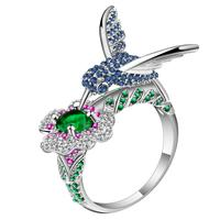 3cfe4878ee37 UFOORO Cute Hummingbird Collecting Honey Blue Zircon Bird Charm Green  Flower Ring For Women Jewelry Silver