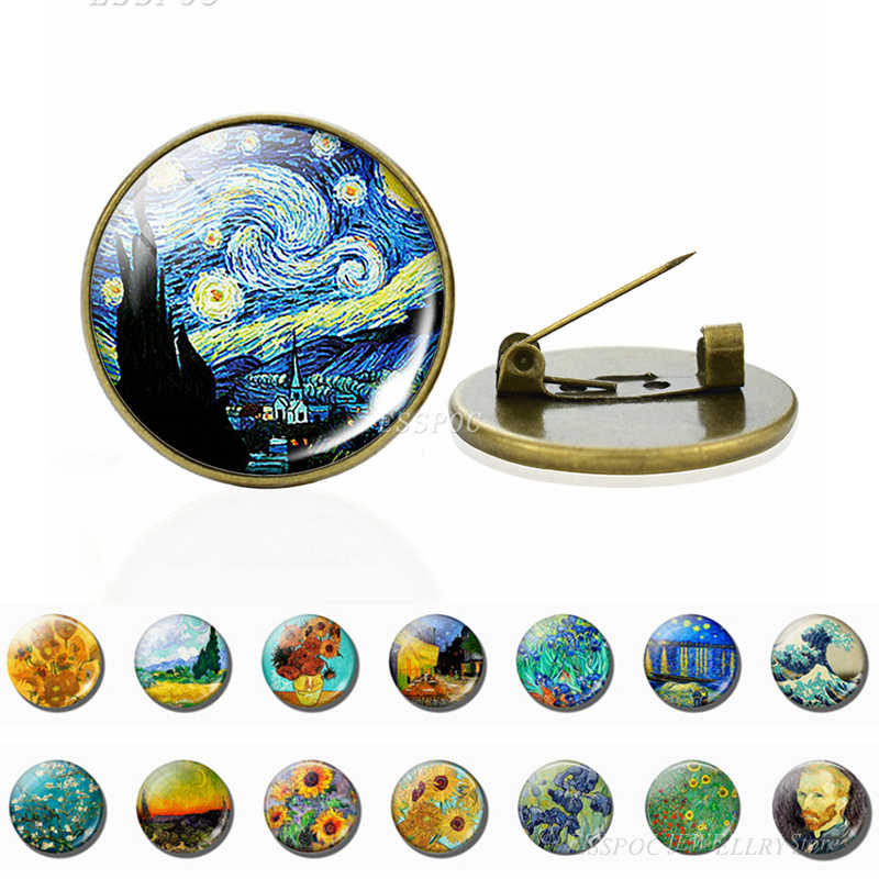 Van Gogh Brooches Art Starry Night Sunflower Brooch Pins Men Women Glass Cabochon Jewelry Bag Bronze Brooch Gift Dropshipping