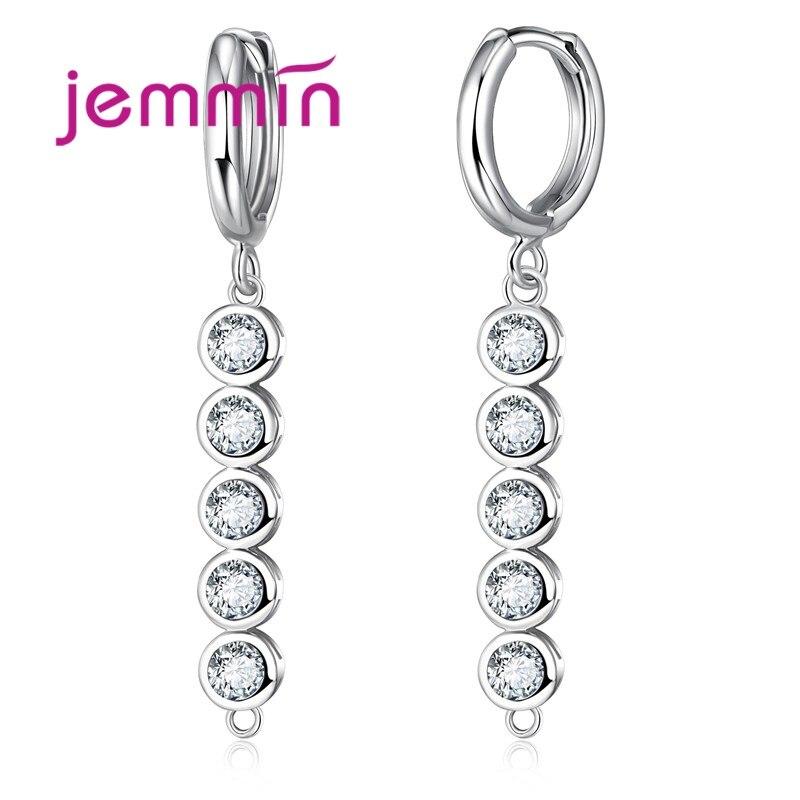 Jemmin Jemmin Unique Design A Line Cubic Zirconia Stone 925 Sterling Silver Dangle Women Earrings font