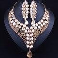 Горячая Позолоченные Капли Воды Кристалл Заявление Ожерелье Серьги для Женщин Свадебные Африканских Ювелирные наборы