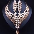Hot Gold Plated Water Drop Crystal Statement Necklace Earrings for Women Wedding African Jewelry sets