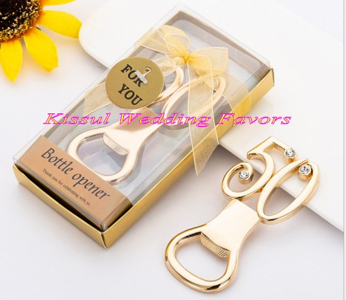 20 Pieces lot Golden Wedding Gift of 50th Design Gold Bottle Opener Favors for 50th