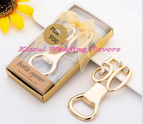 (20 stuks/partij) gouden Huwelijkscadeau van 50th Ontwerp Goud Flesopener Gunsten voor 50th anniversary en 50th birthday celebrations-in Feest bedankjes van Huis & Tuin op  Groep 1