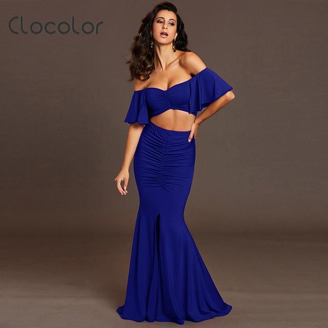 Clocolor sexy Off Shoulder skirt suits mermaid slits Club wear Party Dresses  2 Piece Set Suit Wrapped Crop Top Long skirt suits 5ca4bd0384d5