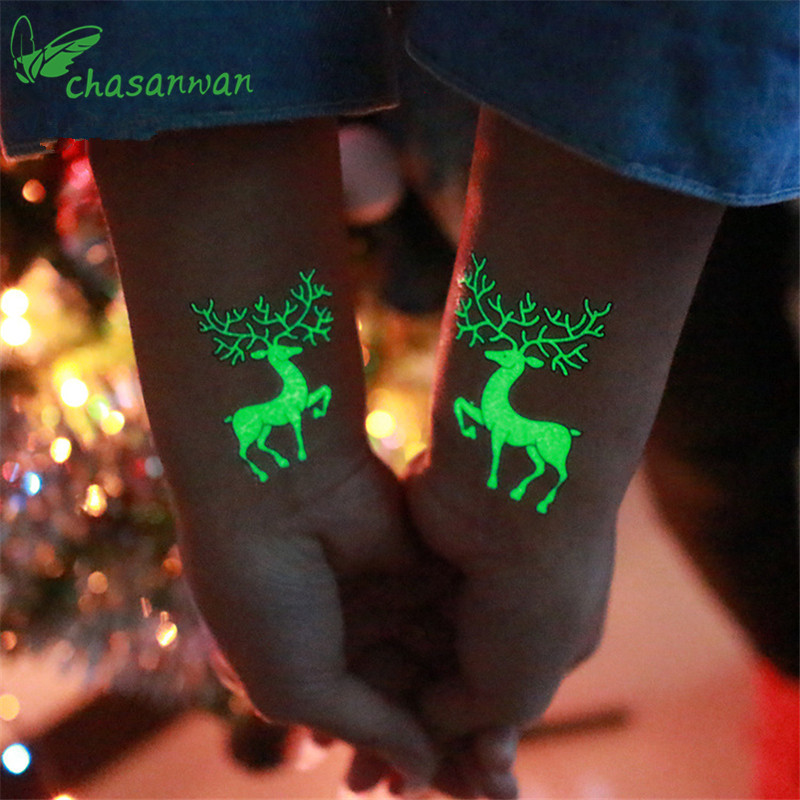Party Decoration 1Pc Luminous Temporary Tattoo Stickers Christmas Carnival Party