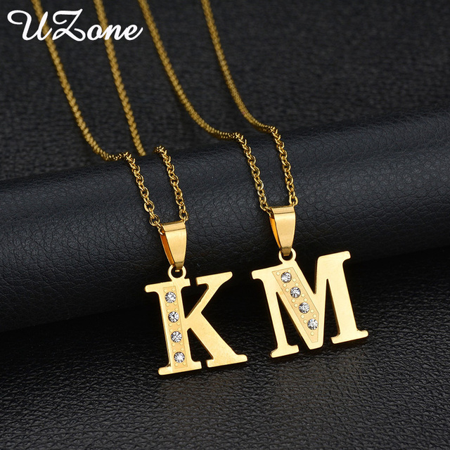 Uzone Cubic Zirconia English Letter Pendant Necklace Stainless Steel