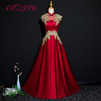 AXJFU принцесса с высоким воротом красный маленький цветок вечернее вечерние вечеринка Бисероплетение Золотое кружево без рукавов ТРАПЕЦИЕВ