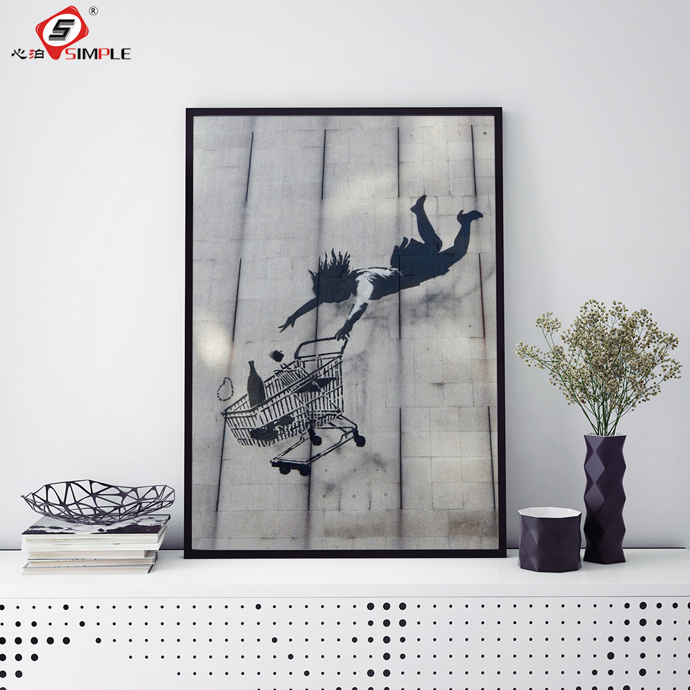 Us 5 67 28 offsimple banksy painting street art shopping woman falling graffiti irony poster and prints decor for home unframed in painting