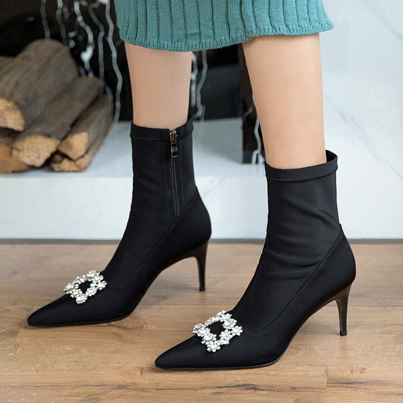 Casidueho Black Women Short Boots Pointed Toe High Heels Shoes Woman Sexy Slim Motorcycle Booties Big Size Rhinestone Lady Pumps summer bling thin heels pumps pointed toe fashion sexy high heels boots 2016 new big size 41 42 43 pumps 20161217