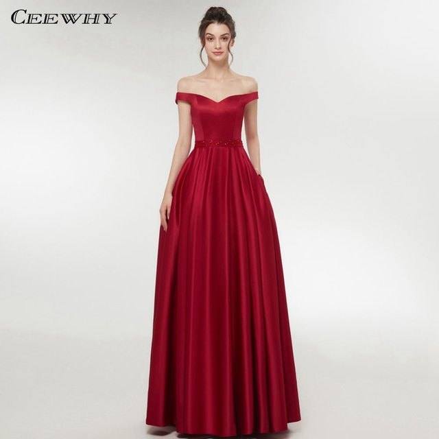 CEEWHY Boat Neck Burgundy Formal Dress Elegant Women Prom Dresses Long Dress  Party Evening Dresses Beaded Vestido de Festa Longo a18cd54e35cc