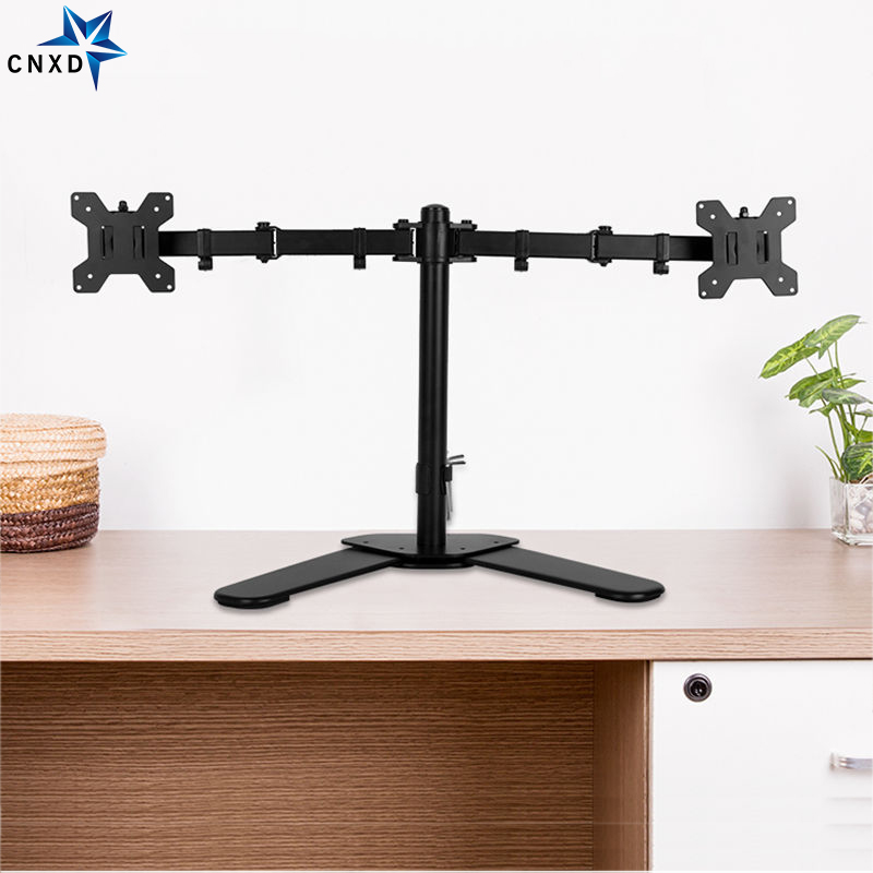 """Dual Monitor Mount Arm Aluminum Desk Table Stand 2 LCD Swivel 13-27/"""" Adjustable"""