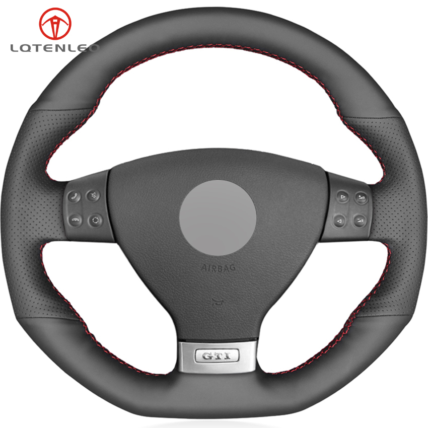 LQTENLEO Black Genuine Leather DIY Car Steering Wheel Cover for Volkswagen Golf 5 Mk5 GTI VW