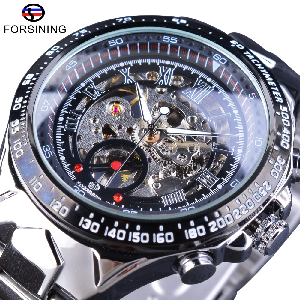 Forsining Transparent Case Open Work Silver Stainless Steel Mechanical Skeleton Sport Wrist Watch Men Top Brand Luxury Men Clock