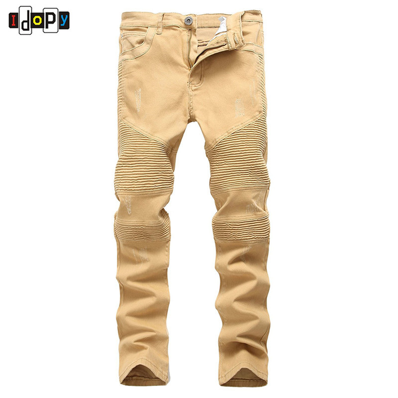 High Street Men`s Biker Jeans Khaki Ripped Scratched Designer Brand Motorcycle Super Skinny Distressed Denim Pants For Hipster biker ripped jeans for men brand designer clothing skinny casual pants trousers masculina pantalones hombre vaqueros distressed