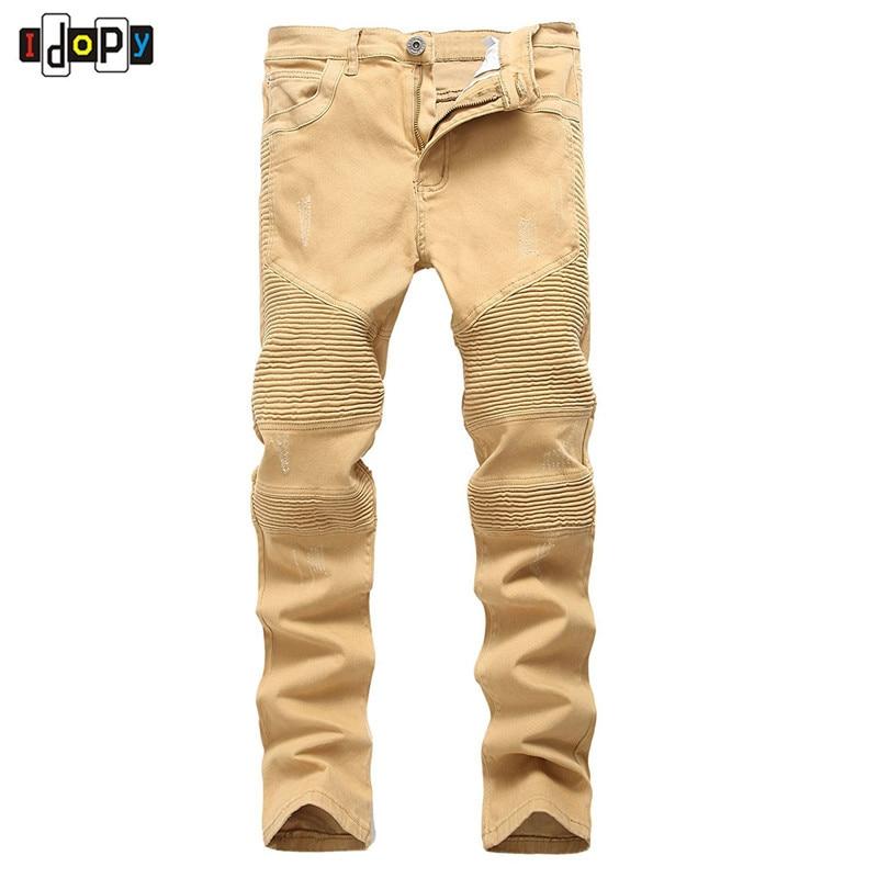 High Street Men`s Biker Jeans Khaki Ripped Scratched Designer Brand Motorcycle Super Skinny Distressed Denim Pants For Hipster