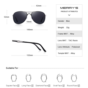 Image 3 - MERRYS DESIGN Men Classic Pilot Sunglasses Mens HD Polarized Sun glasses For Driving Luxury Shades UV400 Protection S8712