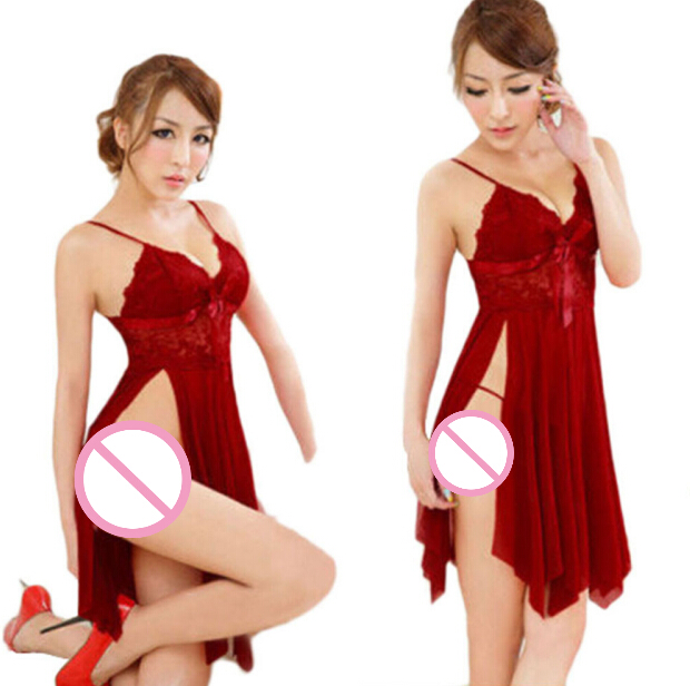 Erotic Costumes Lace Sleepwear Nightgown + G String <font><b>Bodydoll</b></font> Underwear Sleepwear Nightgowns Women <font><b>Sexy</b></font> Lingerie image