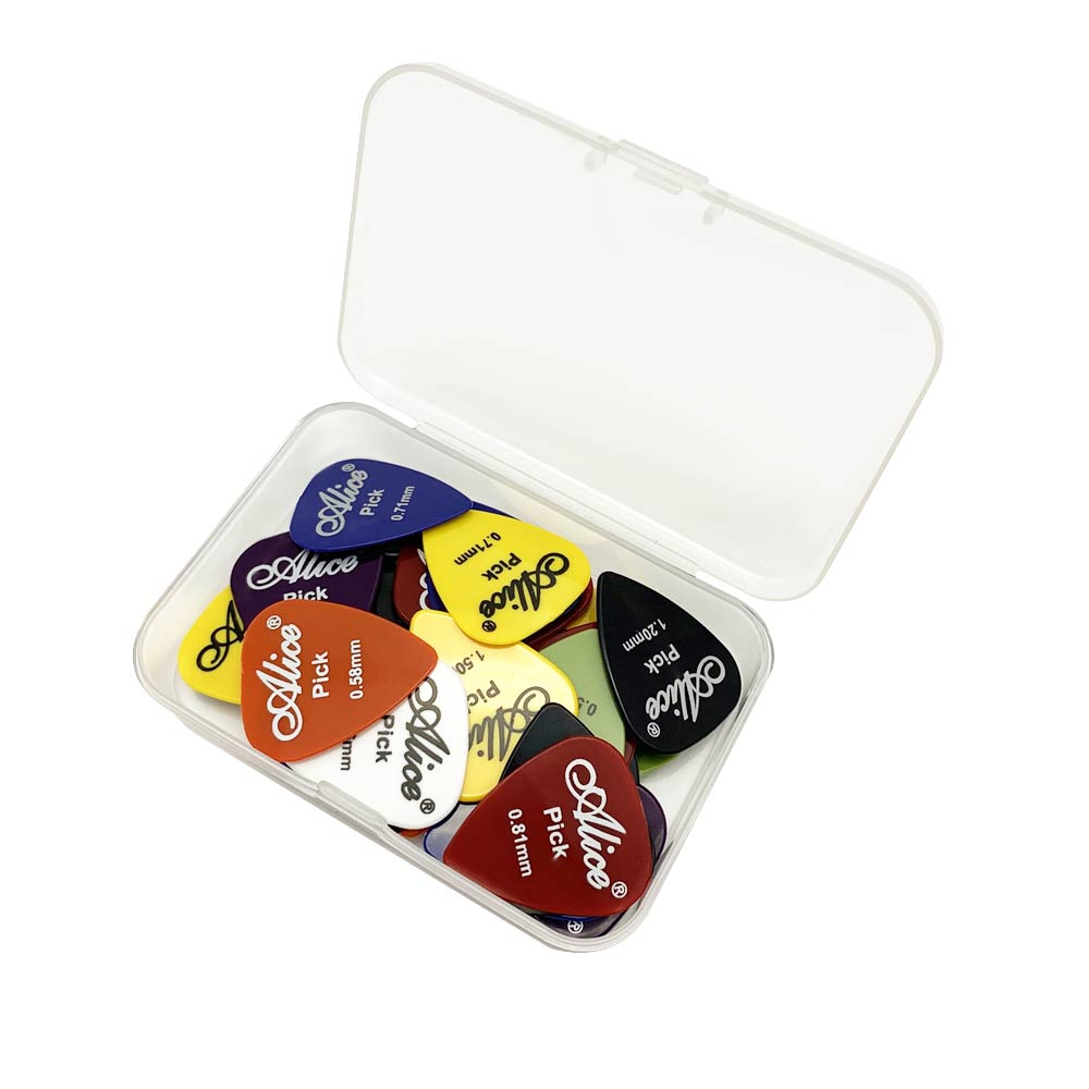 40 Guitar Picks & 1 Storage Box Alice Plectrum Mediator Palheta Guitarra Thickness 0.58 0.71 0.81 0.96 1.2 1.5 Mm