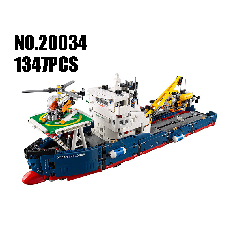 WAZ Compatible Legoe Genuine Technic 42064 Lepin 20034 1347pcs Searching Ship Set building blocks Figure Bricks toy for children information searching and retrieval