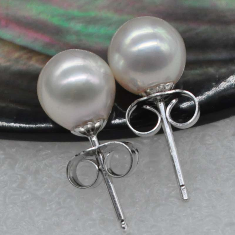 AAA 7mm round real akoya pearl sterling silver studs earring