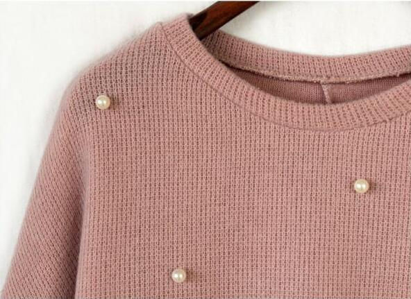 Long Sweater Women Pearl Beading Knitted Pullover Solid Jumper Casual Loose Sweater