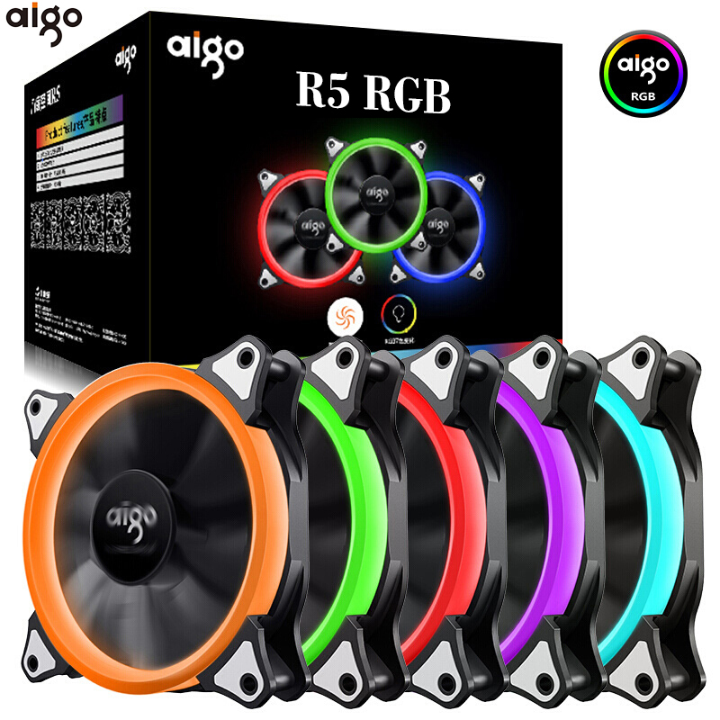 Aigo 120mm Fan PC Case Fan Cooler Adjustable Aurora RGB Led Computer Cooling Fan 12V Mute Ventilador PC Case Fan for Computer