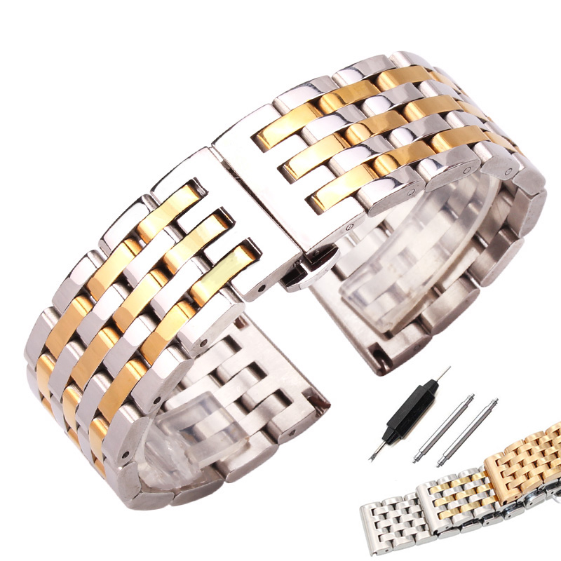 лучшая цена 20mm 22mm Watchband Strap Solid Stainless Steel Men Women Metal Straight End Bracelet Silver 4 Colors Watch Band Accessories