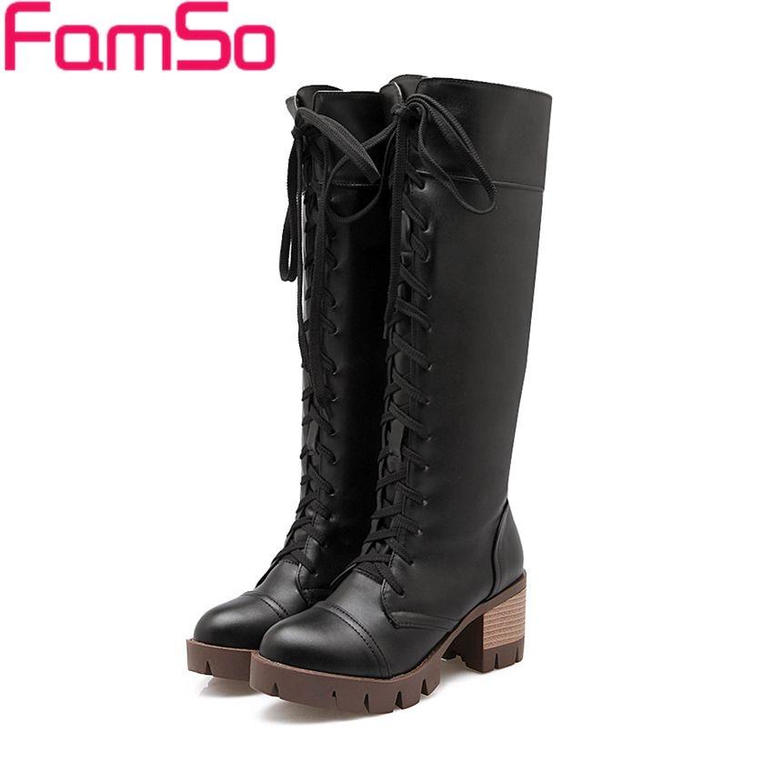 Plus Size34 43 2016 New Classics font b Women b font Black Boots Lace up Autumn