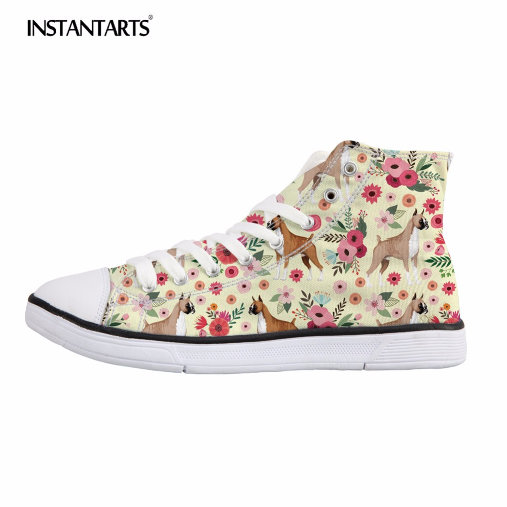 INSTANTARTS Vulcanize High Top Flats Women Spring Lace Up Casual Shoes Cute Dog Design Boxer Floral Woman's Leisure Canvas Shoes