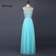 Menoqo Beautiful Evening Dresses 2017 Sheer O Neckline Beaded Chiffon Long Party Prom Gowns W05115