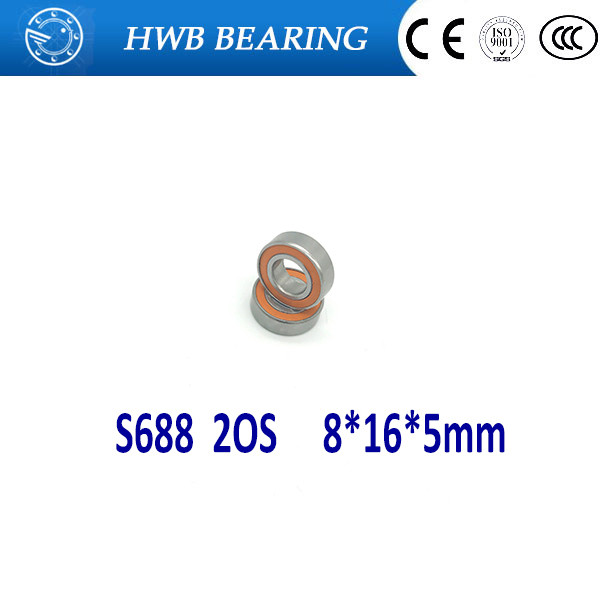 Free shipping 10PCS 8x16x5 S688-2RS Stainless steel hybrid ceramic ball bearing S688 2OS CB ABEC7 S688C 2OS engine bearing stainless steel hybrid ceramic ball bearing s607 2rs cb abec5 7x19x6mm