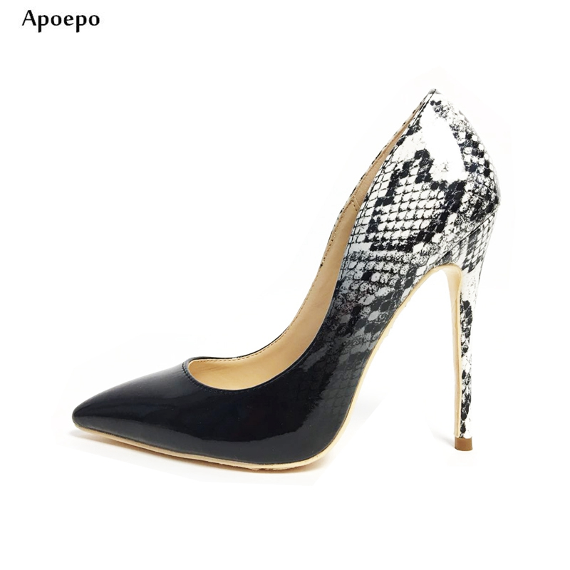 Apoepo New Fashion High Heel Shoes Sexy Pointed Toe Snakeskin Leather Pumps for Woman 2018 Thin Heels Dress Shoe Wedding Shoes 2017 new sexy pointed toe high heel women pumps genuine leather spring summer shoes woman fashion dress party casual shoes pumps