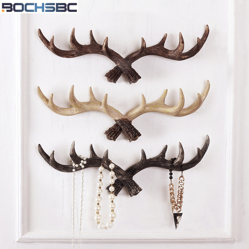 Nordic Creative Retro Antler Hooks Wall Decoration Robe Hook Clothes Store Decor Resin Antlers Wall Clothes Hangers