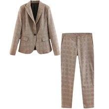 Plaid Suit Set Female 2019 Spring and Autumn New Womens Slim Blazer Low Waist Straight Pants Two-piece