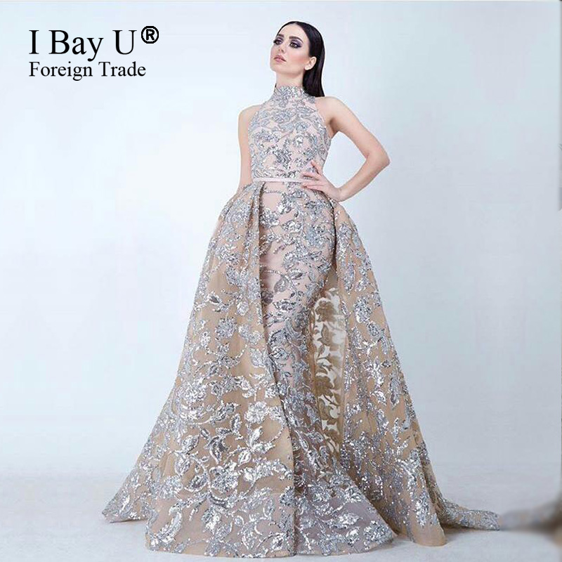 Arabic Girl Dresses Glitter Lace Sequins Mermaid Evening Dresses ...
