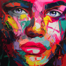 Embelish 1 Pieces Large Size HD Print On Canvas Oil Paintings Francoise Nielly Knife  Colorful Face Figure Wall Art Posters