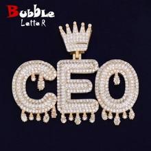 Collier à pendentif en Zircon cubique pour hommes et femmes, avec initiales de bulles goutte à goutte, bijoux Hip Hop