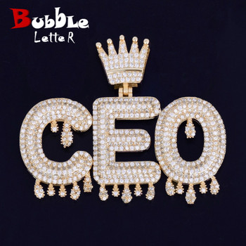 Custom Name Crown Bail Drip Initials Bubble Letters Chain Pendant Necklaces For Men Women Cubic Zircon Hip Hop Jewelry