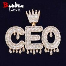 Nome personalizado coroa bail gotejamento iniciais bolha letras corrente pingente colares para homens feminino zircon cúbico hip hop jóias