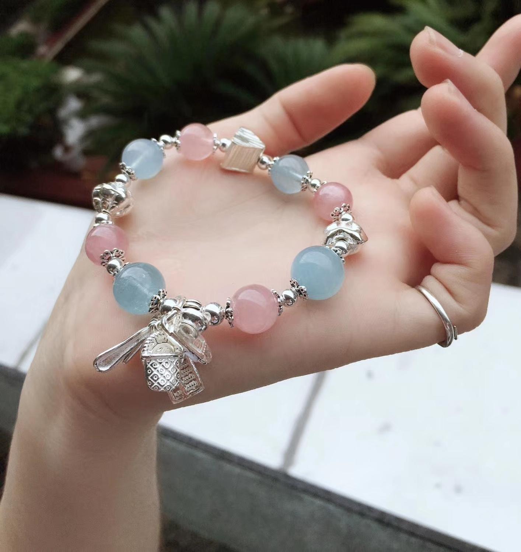 Sterling S925 Silver Bracelet Womens Pink Crystal Treasure Tassel Beads 12mm 16cmLSterling S925 Silver Bracelet Womens Pink Crystal Treasure Tassel Beads 12mm 16cmL