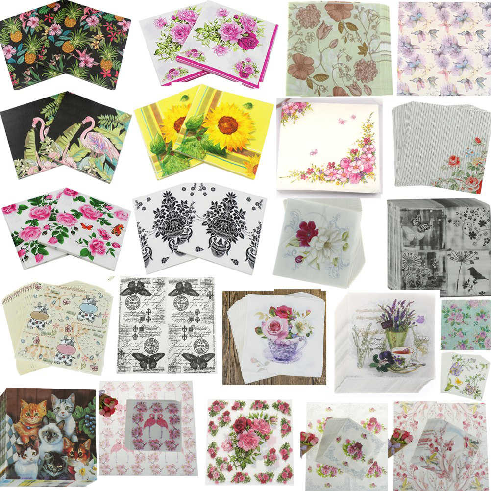6/20 ชิ้น/แพ็ค Bloosm Rose ดอกไม้ดอกไม้ Flamingo Theme กระดาษผ้ากันเปื้อนกระดาษทิชชูผ้ากันเปื้อน Decoupage ตกแต่งงานรื่นเริงปาร์ตี้