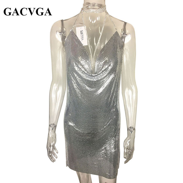 GACVGA 2018 Sexy Diamond Halter Metal Party Dresses Gold Silver Summer Dress Vesitos Backless Sequins Women Dress   3