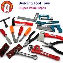 22 pçs/set Meninos Brinquedo de Construção de Ferramentas De Carpintaria Machado Popsocket Pretend Play Para Crianças Educacionais Presentes Conjunto