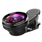 10mm HD High-definition Wide Angle Lens + 20xMacro Lens Mobile Phone Camera Lens Universal Clip Professional Cell Phone Lenses